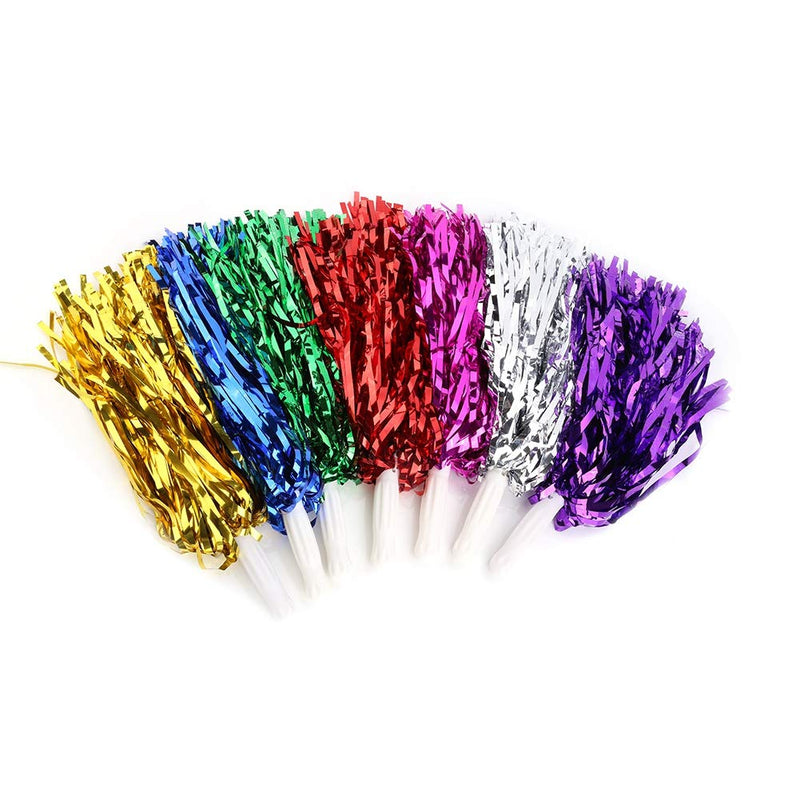 [AUSTRALIA] - VGEBY1 Cheerleading Pom Poms, 7 Colors 6pcs Cheerleading Metallic Foil Plastic Ring Pom Poms Cheer Poms Pack silver