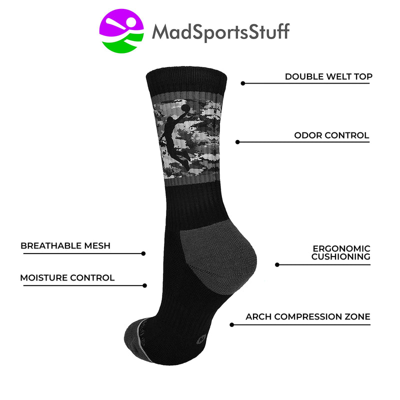 [AUSTRALIA] - MadSportsStuff Basketball Socks with Player on Camo Athletic Crew Socks (Multiple Colors) Black/Graphite Camo Large