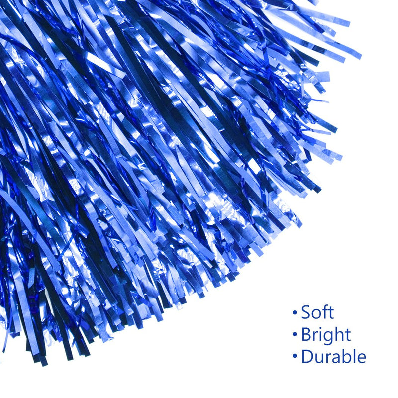 [AUSTRALIA] - Creatiee 1 Dozen Premium Cheerleading Pom Poms, 12Pcs Hand Flowers Cheerleader Pompoms for Sports Cheers Ball Dance Fancy Dress Night Party … Blue