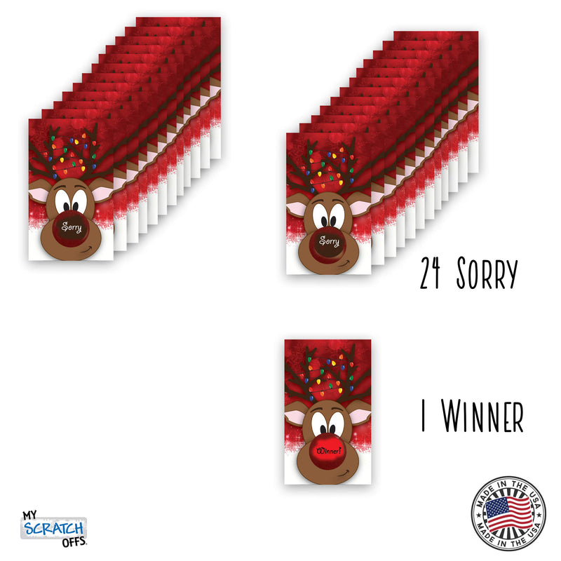 My Scratch Offs Rudolph Christmas Holiday Scratch Off Game Cards - 2 x 3.5 Inches - 25 Pack - BeesActive Australia