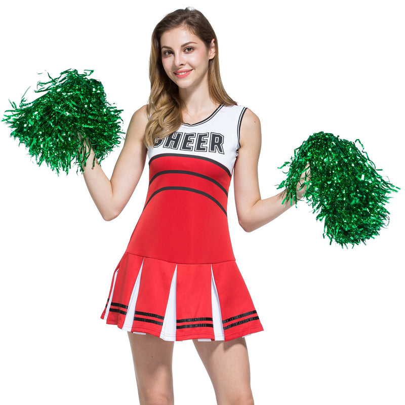 [AUSTRALIA] - H:oter 1 Pair Holes Handle Cheerleading Pom Poms Party Costume Accessory Sports Set, 0.04 LB/Pieces P3-3 PAIRS-GREEN