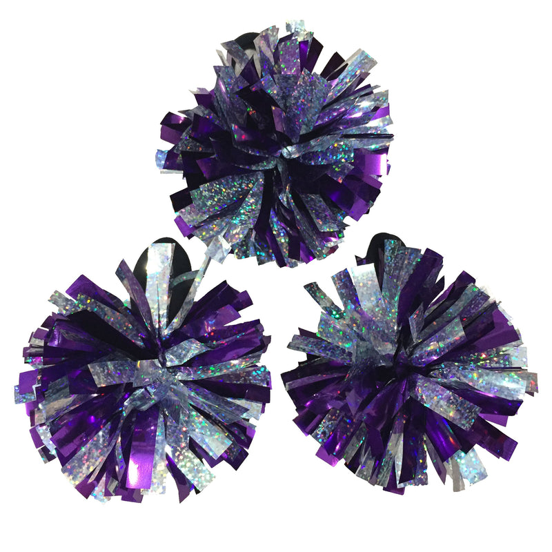 "[AUSTRALIA] - kuugear Set of 3, Wearable 2-Color 2"" Metallic Pom Poms for Cheerleading, Team Spirit, Party Costume, Ponytail Holder, Holiday Celebration, and Decor Holo Silver/Metallic Purple"