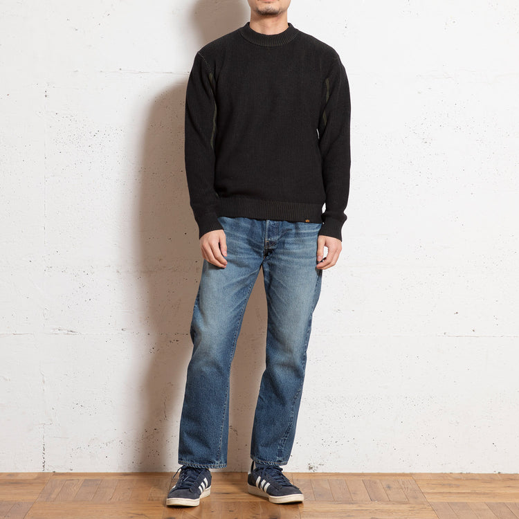 ALPHA INDUSTRIES | アルファ インダストリーズ Begin限定 CHAMBRAY CREW NECK SWEATER MOD