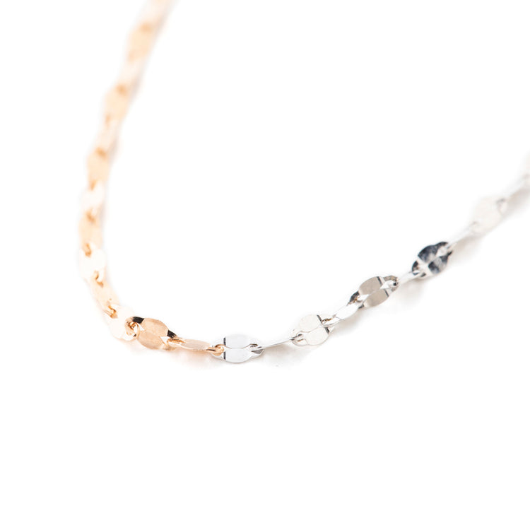 les bonbon | ル ボンボン éclair double necklace pink gold×white gold