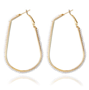 Beaded Oblong Hoop Earrings