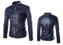 Load image into Gallery viewer, Mens Faux Leather Biker Jacket in Black