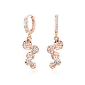 Fion Circle Coin Rose Gold Crystal Earrings with 14K Gold Pin