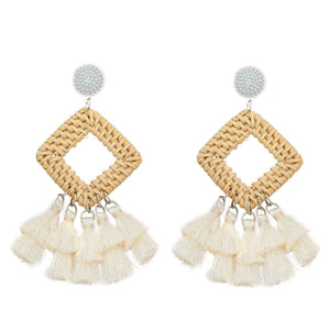Rattan Drop Earrings with Tassel