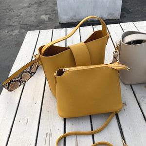 Womens Vegan Leather Bucket Bag With Wide Shoulder Strap