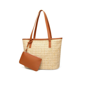 Vegan Leather Trimmed Straw Tote
