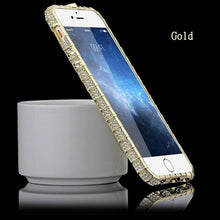 Load image into Gallery viewer, Crystal Rhinestone Metal Frame Case for iPhones