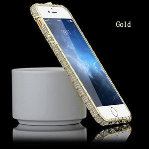 Crystal Rhinestone Metal Frame Case for iPhones