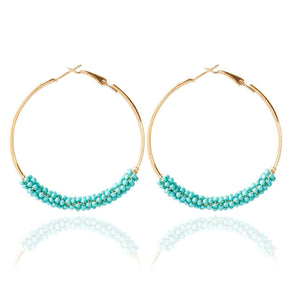 Colorful Beaded Circle Hoop Earrings