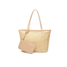 Load image into Gallery viewer, Vegan Leather Trimmed Straw Tote