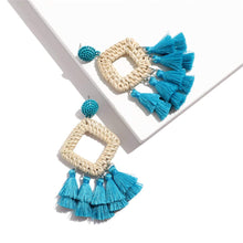 Load image into Gallery viewer, Rattan Drop Earrings with Tassel