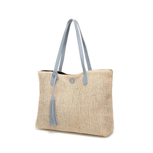 Vegan Leather Trimmed Tote with Tassle
