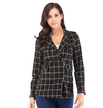 Load image into Gallery viewer, Womens Double Breasted Black Checkered Blazer