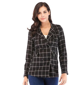 Womens Double Breasted Black Checkered Blazer