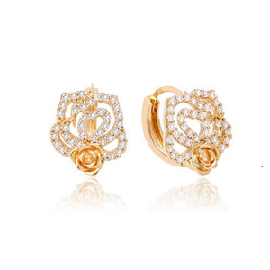 Jasmine Twin Rose Stud Crystal Earrings with 14K Gold Pin