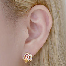 Load image into Gallery viewer, Jasmine Twin Rose Stud Crystal Earrings with 14K Gold Pin