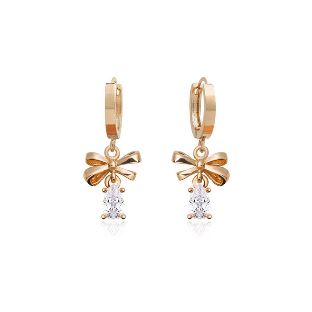 Penny Linear Bow Crystal Rose Gold Earrings with 14K Gold Pin