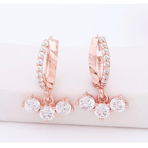Luciana Double Hoop Earrings with 14K Rose Gold Pin