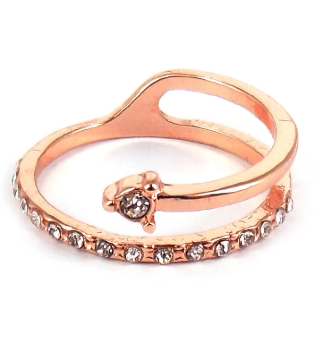 CRYSTAL PAVE ROSE GOLDTONE COIL RING *CHOOSE YOUR SIZE