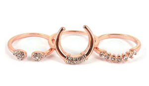 CRYSTAL ACCENTED ROSE GOLDTONE 3 RING SET *CHOOSE YOUR SIZE