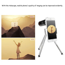 Load image into Gallery viewer, 18X Zoom Telescope Phone Camera Lens with Tripod Clip For iPhone, Samsung, Pixels, LG and Oneplus