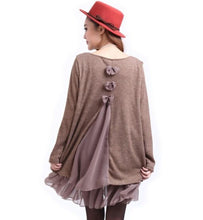 Load image into Gallery viewer, Layered Tunic Sweater Dress with Frill Trim