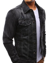 Load image into Gallery viewer, Mens Distressed Denim Jacket