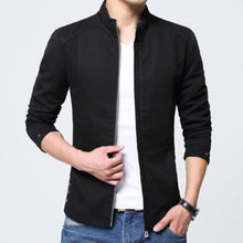 Load image into Gallery viewer, Mens Slim Fit Zipped Up Jacket in Black