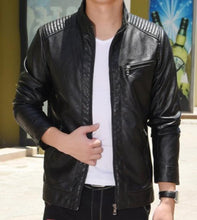 Load image into Gallery viewer, Mens Stand Collar Vegan Leather Biker Jacket