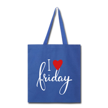Load image into Gallery viewer, I Love Friday-Tote Bag - royal blue