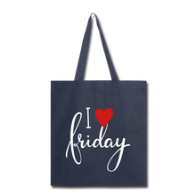 Load image into Gallery viewer, I Love Friday-Tote Bag - navy