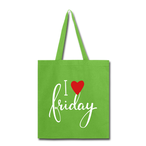 I Love Friday-Tote Bag - lime green