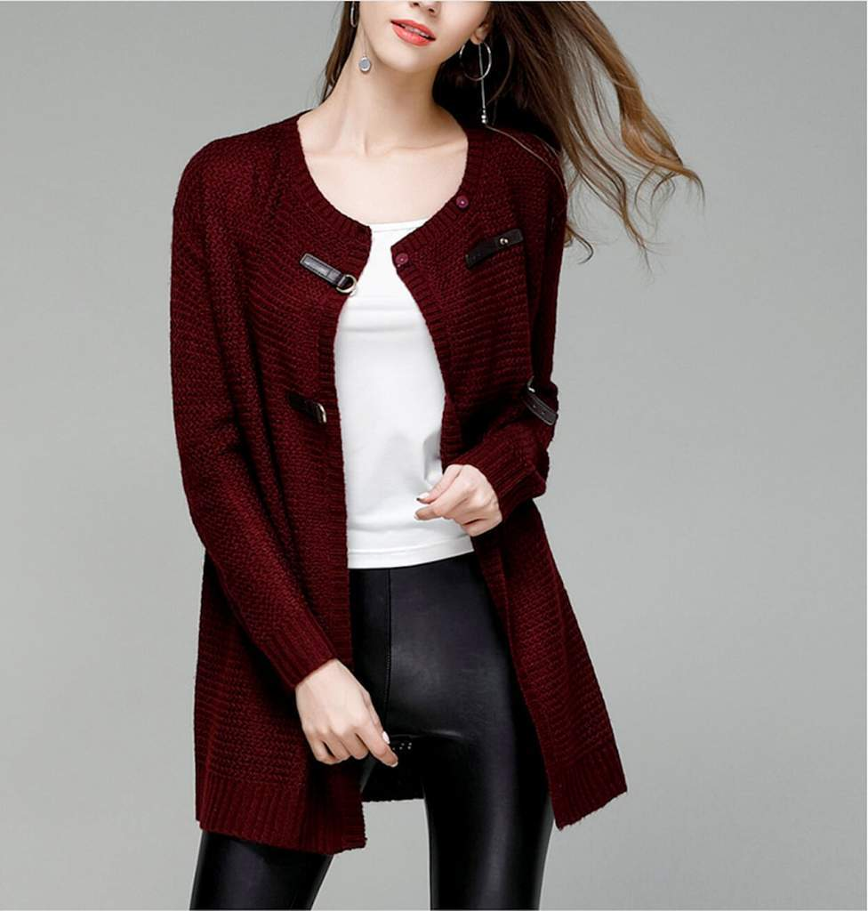 Womens Street Style Knitted Cardigan in Wine