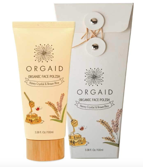 ORGAID Organic Face Polish With Honey Crystal and Brown Rice