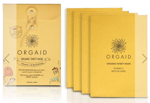 ORGAID Organic Sheet Mask: VITAMIN C & REVITALIZING Pack Of 4 Sheets