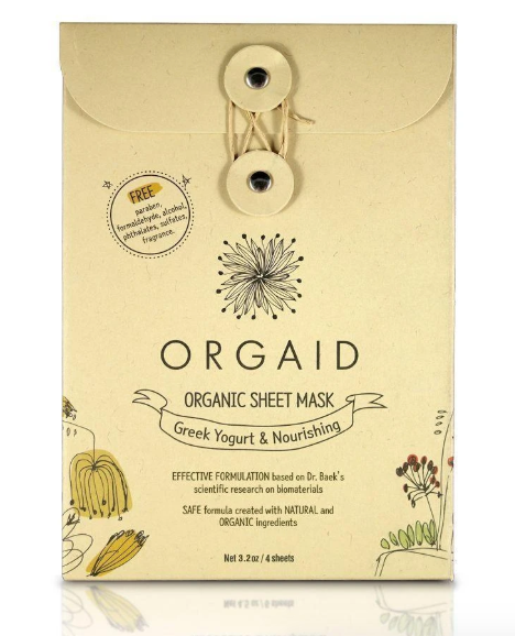ORGAID Organic Sheet Mask: GREEK YOGURT & NOURISHING Pack of 4 Sheets