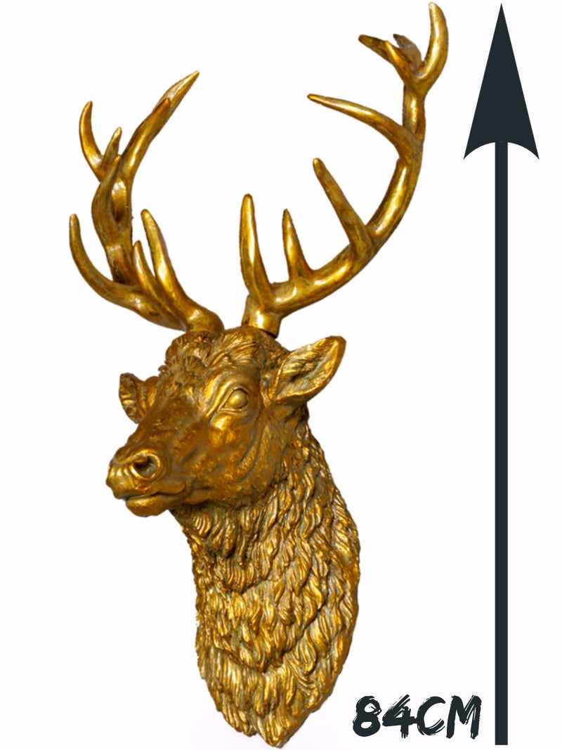 Large Stag Head - Antique Gold