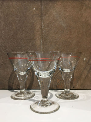 Set of 3 Vintage French Aperitif Glasses