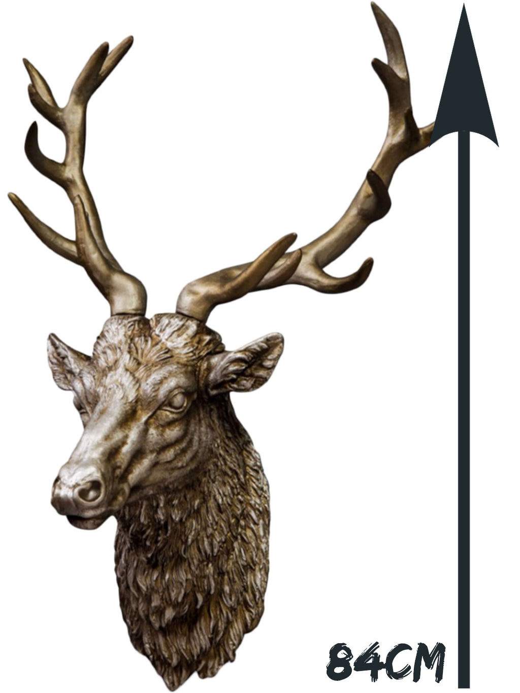 Large Stag Head - Antique Silver