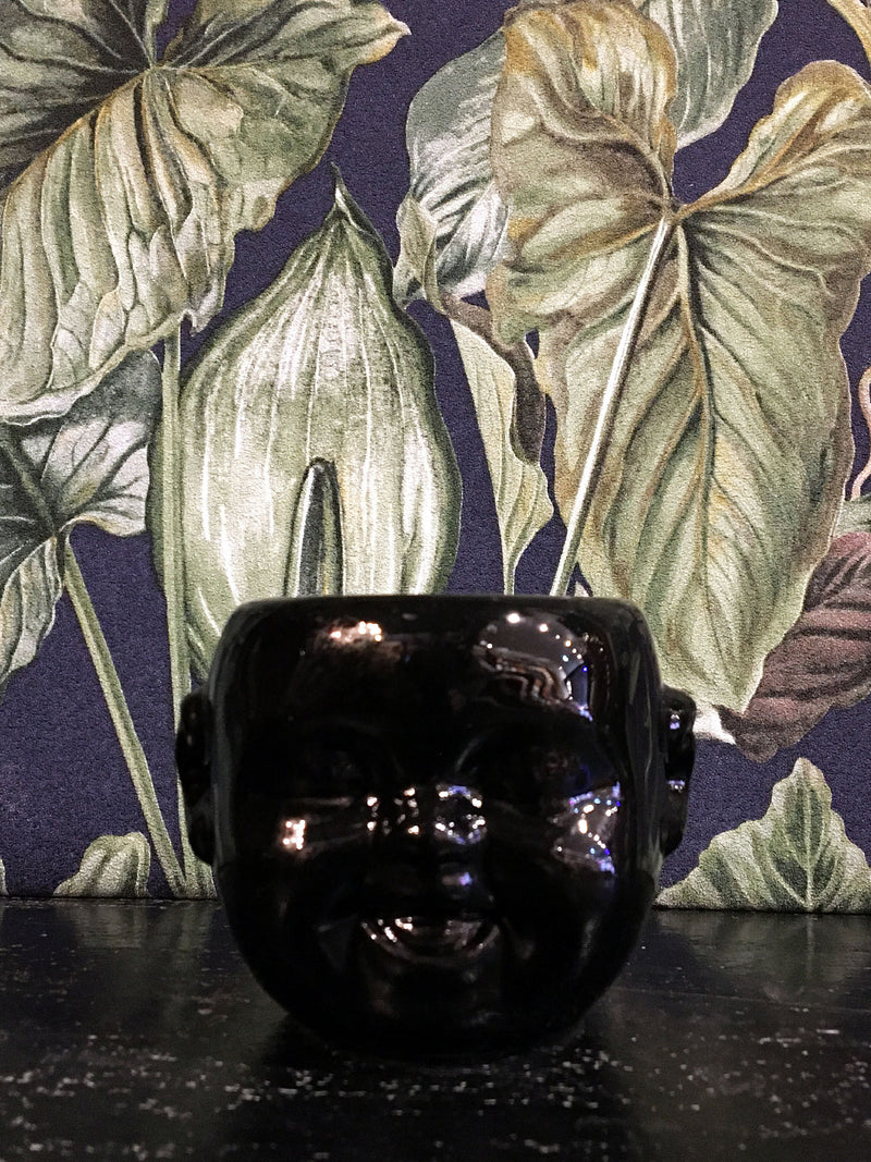 Baby Face mini Pot / Planter Black laugh