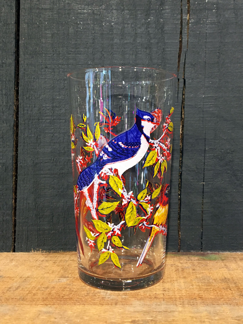 Vintage Bird Print Tumbler Glass