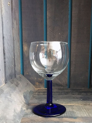 Vintage Blue Stem Wine Glass