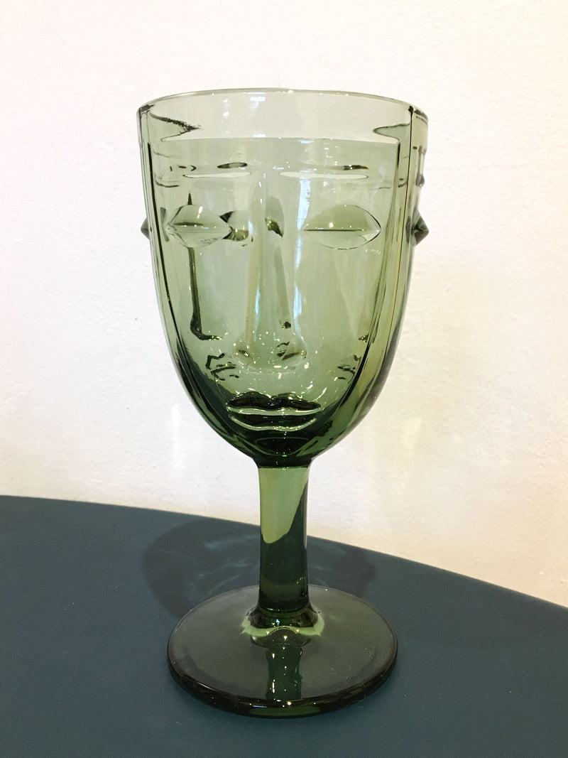 Deco Face Wine Glass - Olive