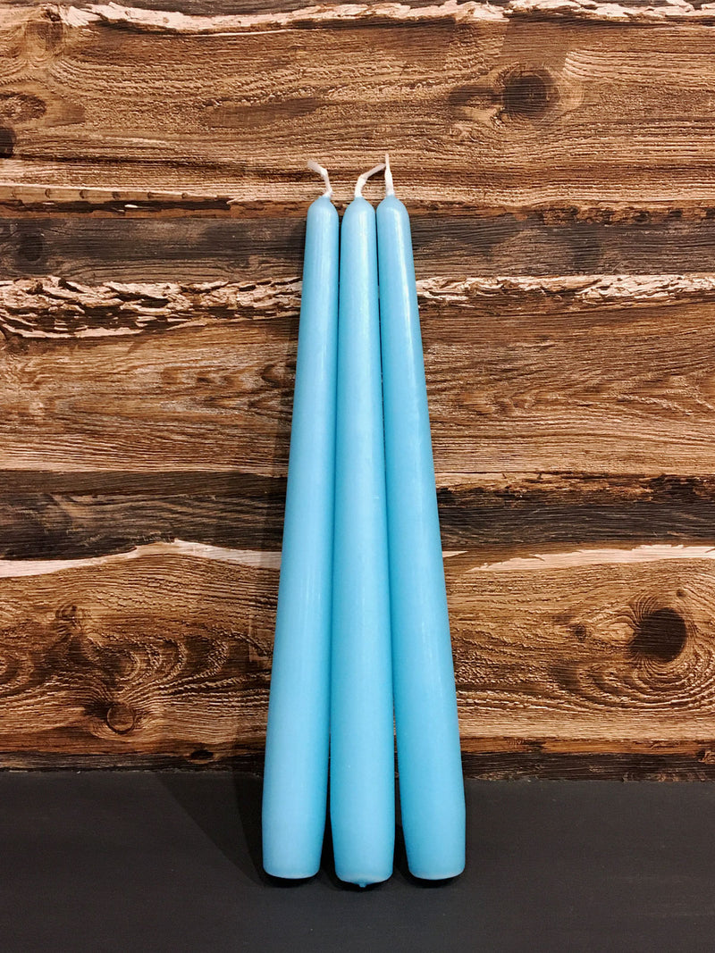 Set of 3 Fluro Dinner Candles Turquoise