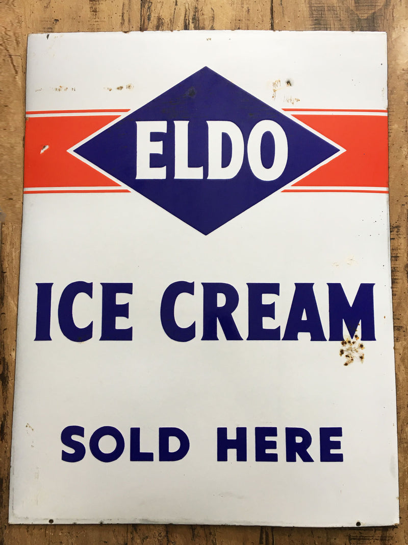 Vintage Eldo Ice Cream Advertising Enamel Sign