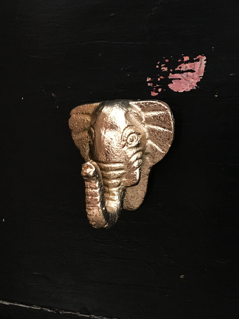Elephant Design Metal Knob - Gold